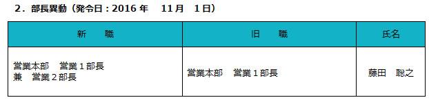 2.部長異動(発令日:2016年11月1日)